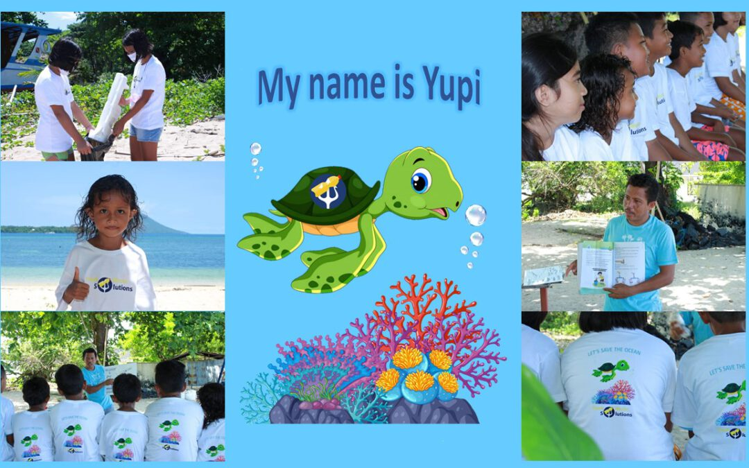 Yupi, our new mascot and the children from Siladen island